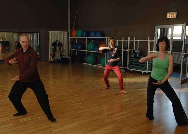 Three People Participating in Tai Chi