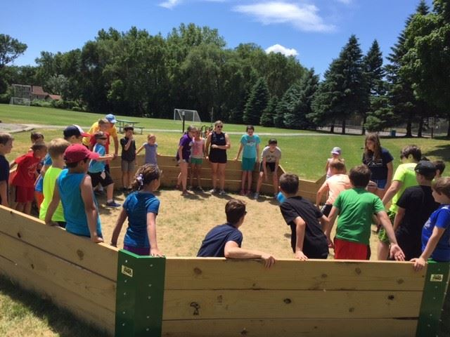 Kids playing gaga ball at Hazelnut Park