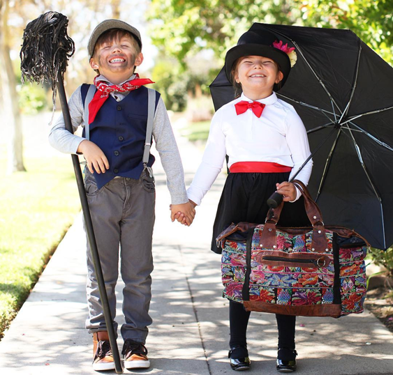 Two kids dressed as Mary Poppins Characters