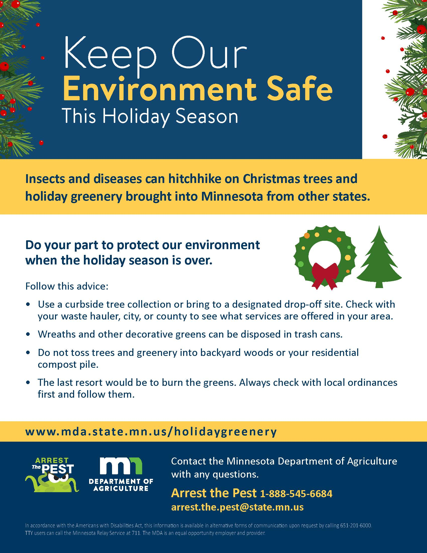 Holiday Greenery Disposal Poster